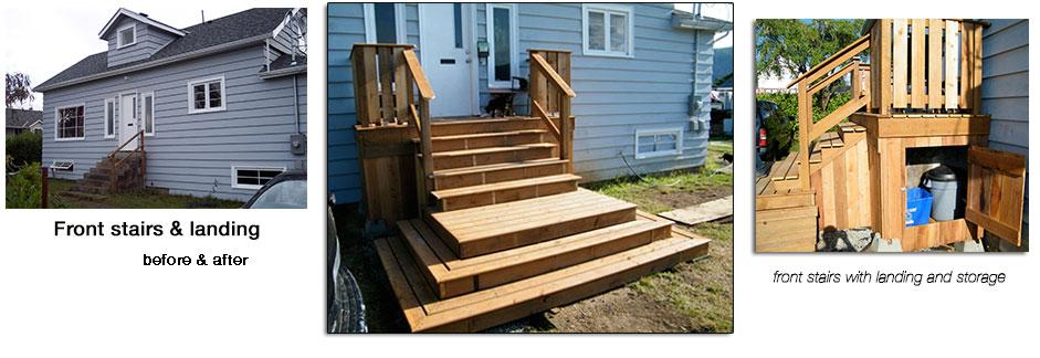 front steps, landing