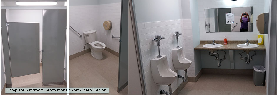 Complete bathroom with handicap stall
