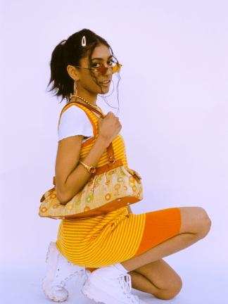 1970's Vintage Knit Mini Dress- Striped Orange and Yellow Knitwear
