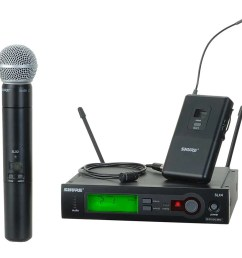 shure slx124 85 58 slx series single channel wireless mic system with wl185 lavalier and sm58 handheld combo full compass systems [ 1000 x 931 Pixel ]