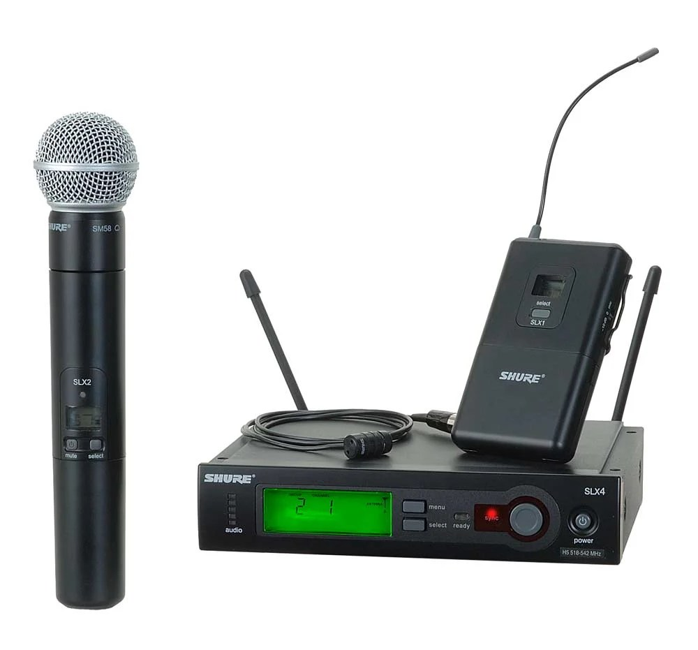 hight resolution of shure slx124 85 58 slx series single channel wireless mic system with wl185 lavalier and sm58 handheld combo full compass systems