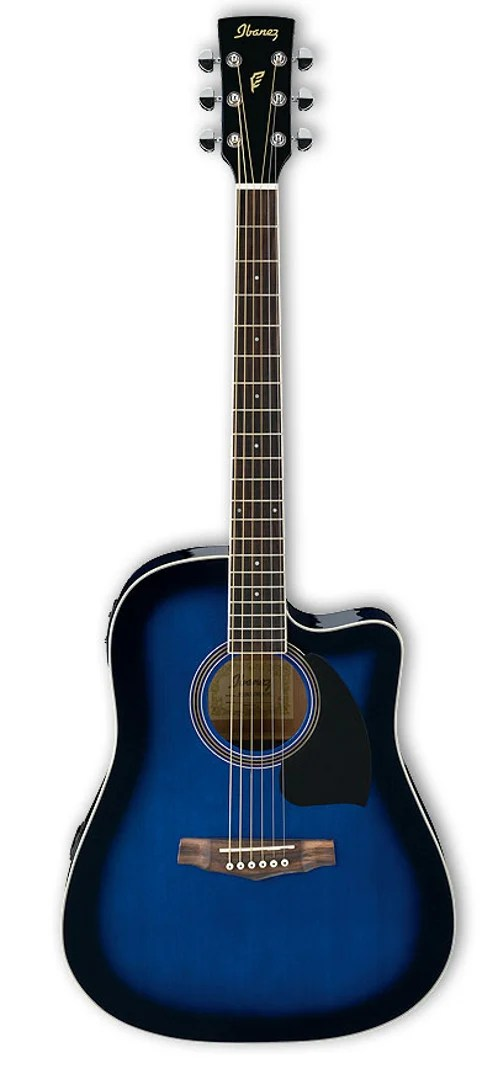 Ibanez Pf15ece Tbs Acoustic Electric Guitar With Transparent Blue Sunburst Finish Full Compass Systems