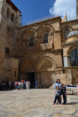 Outside the Church of the Holy Sepulcher.