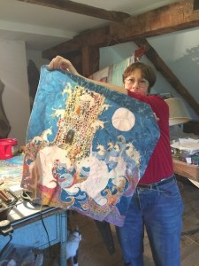 carol conklin with one of her batiks