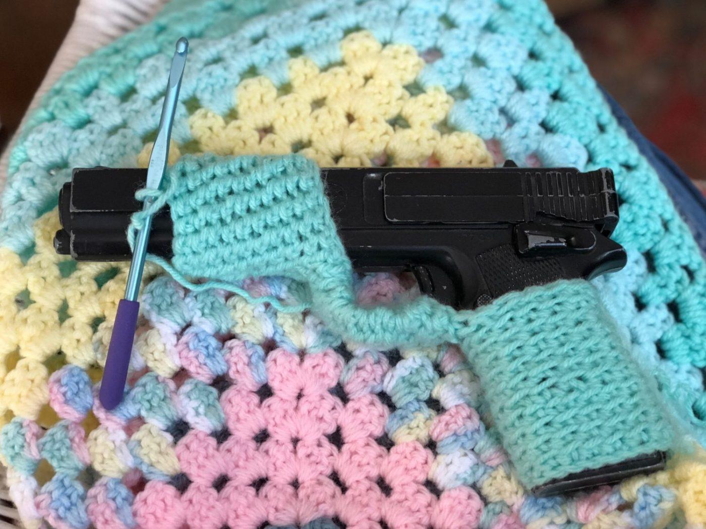 Crocheted Gun And Baby Blanket Fullmoonfiberart
