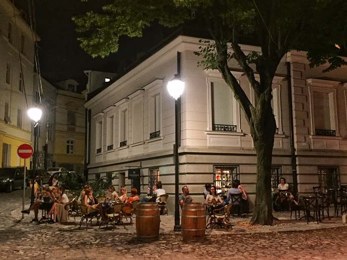 Belgrade cafe at night