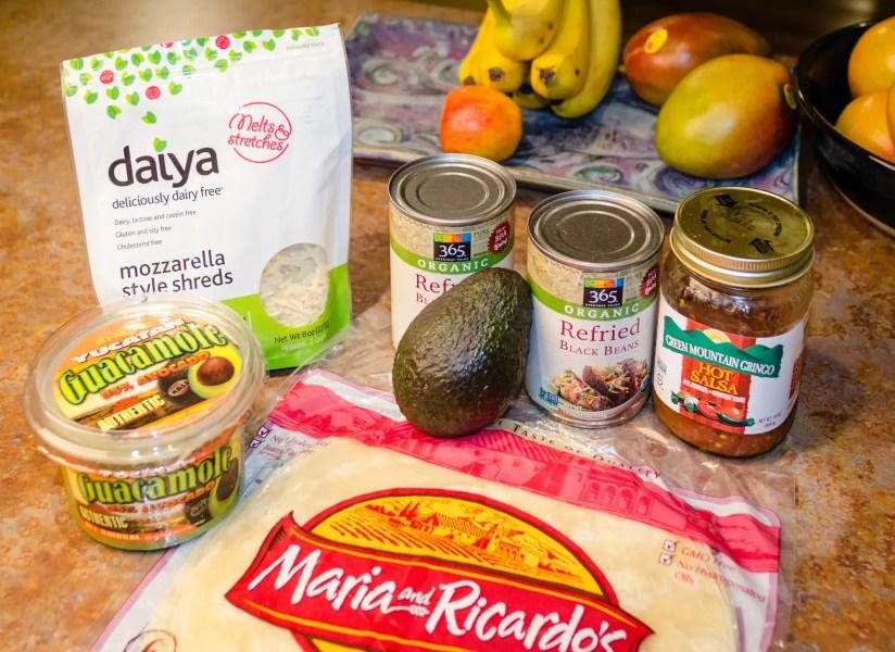 The ingredients for vegan burritos