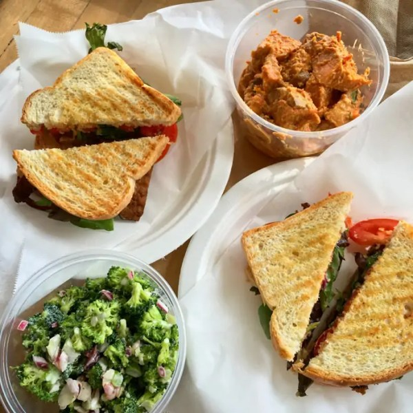 Vegan B*LT, asian sweet potato salad, and broccoli salad - Heath's Natural Foods style