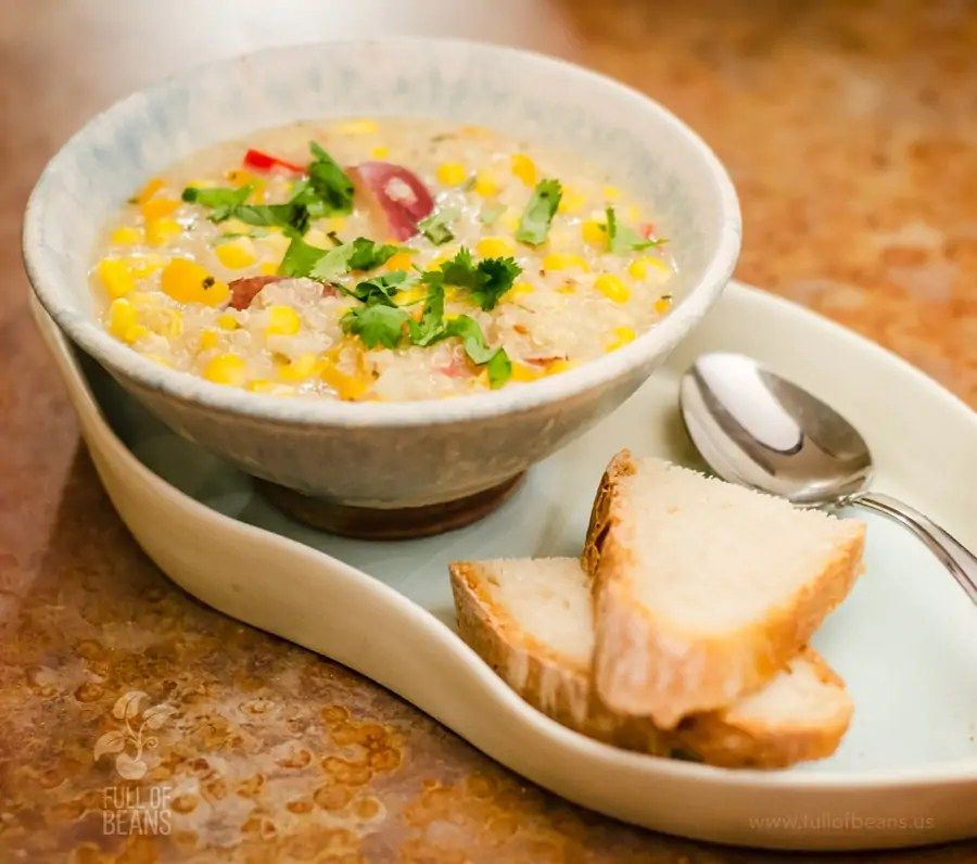 Vegan Corn Chowder Quinoa Feature W Text