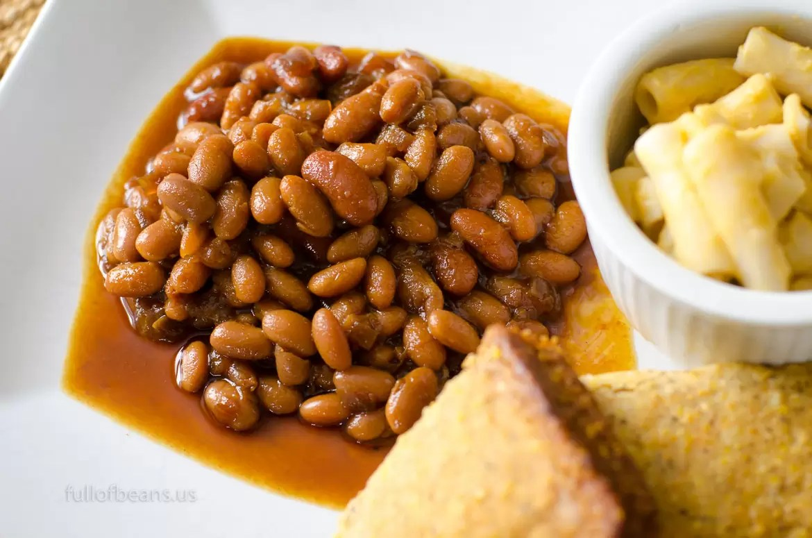 Yummy Plate Of Fat Free Vegan Baked Beans With Cornbread And Mac N' Cheese!