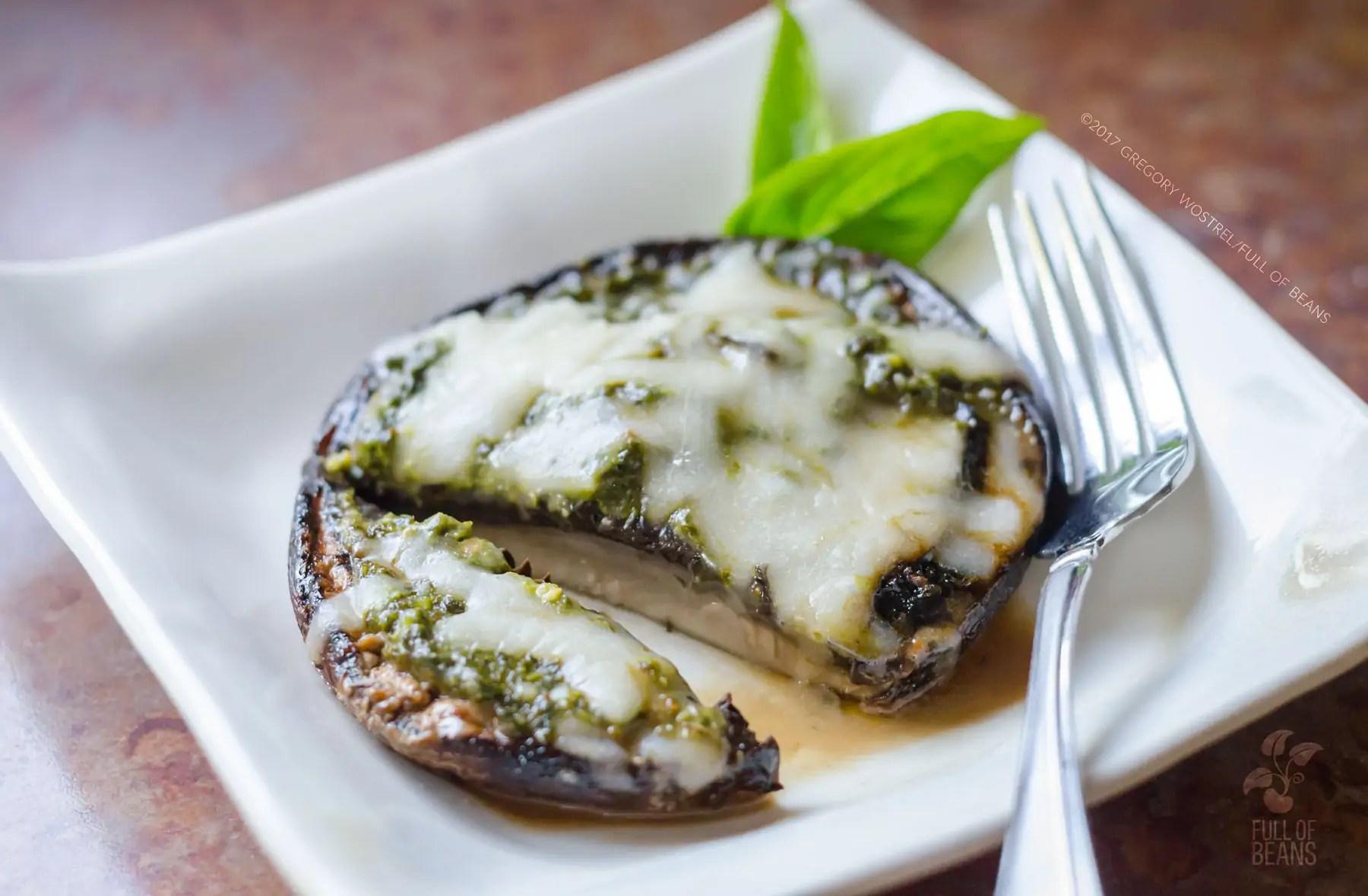 Vegan Pesto Stuffed Mushroom Cap