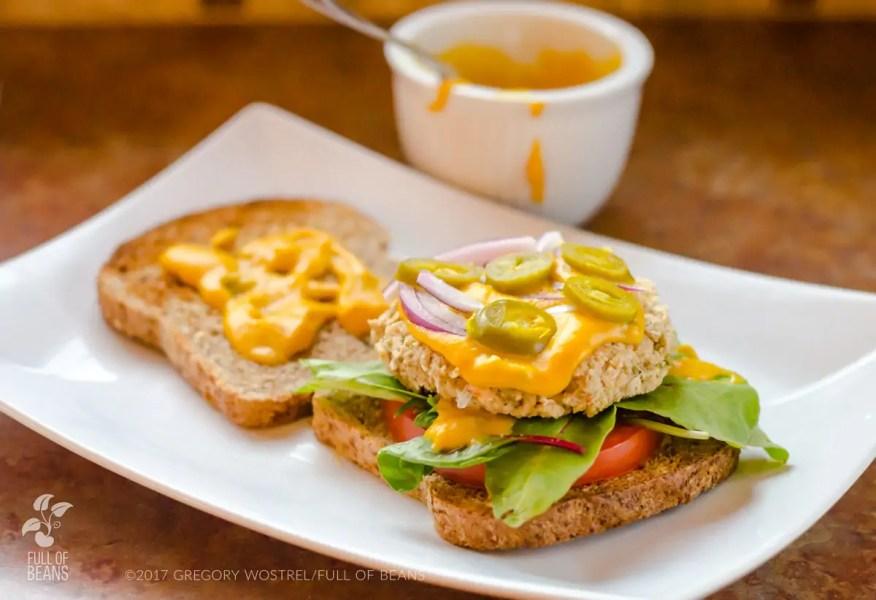 white bean veggie burger - spicy sandwich