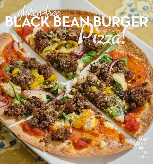 Gluten-free Black Bean Burger Pizza - fullofbeans.us