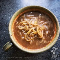 simple vegan onion soup in a a bowl
