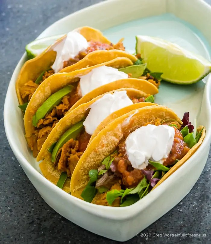Ready to eat Zesty Lime Vegan Tacos with Comrade Cluck