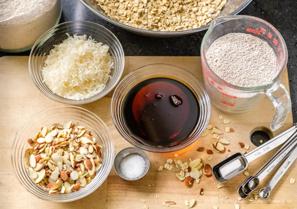 the ingredients for a giant batch of Easy Almond Maple Granola