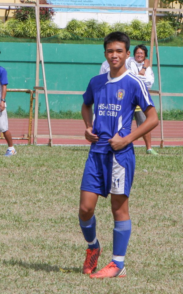 Philippine Under 16 member Kintaro Miyagi scores two of Sacred Heart School-Ateneo de Cebu's three goals against University of Southern Philippines Foundation in Sunday's opening day of the Cebu Schools Athletic Foundation Inc. football tournament.