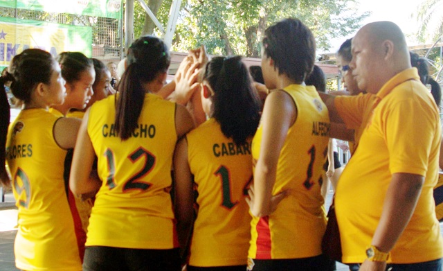 Team Visayas volleyball secondary girls represented by the University of San Jose Recoletos.