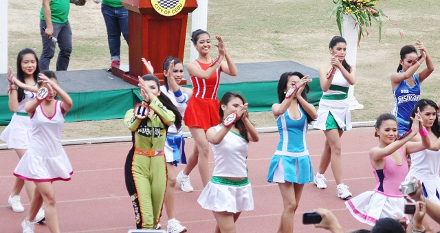 Elementary and secondary candidates of the Ms. Cebu City Olympics in their production number.