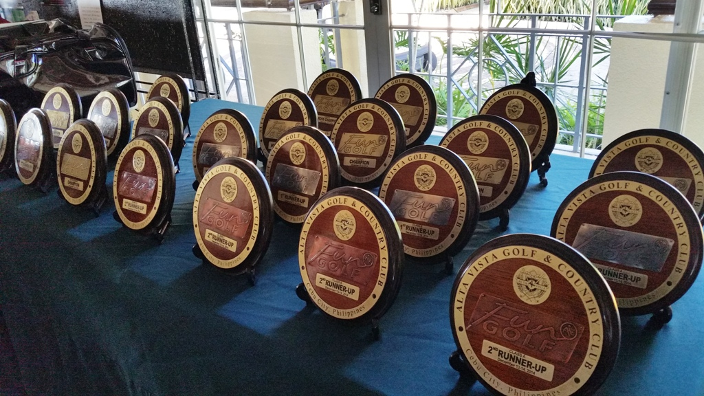 The specially-made plaques that will be awarded to the winners.