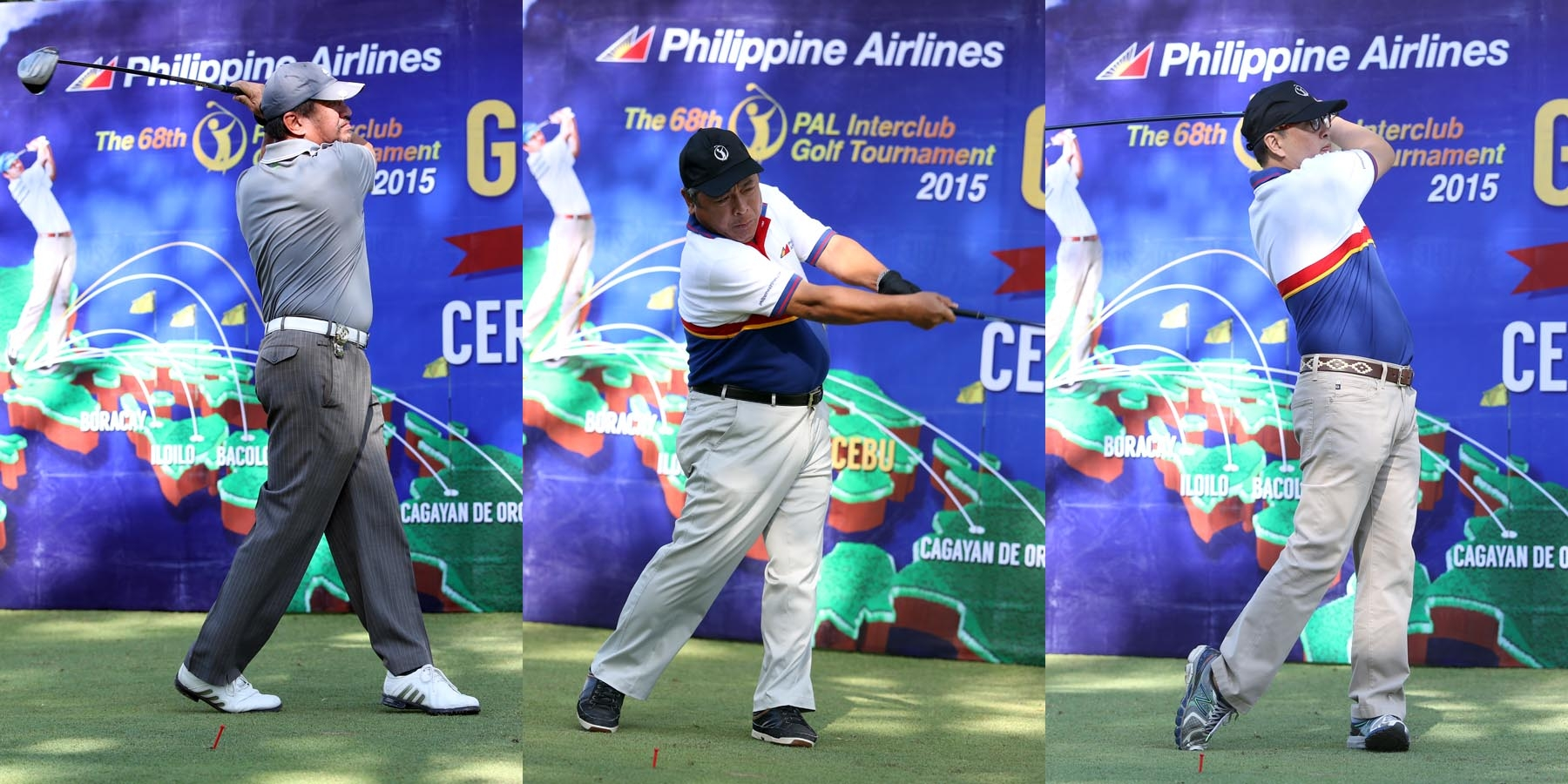 PAL SENIORS INTERCLUB. The ceremonial tee-off to kick off this year's Philippine Airlines (PAL) Interclub Seniors tournament in Cebu City was lead by PAL President Jaime J. Bautista (center), PAL Senior VP Ismael Augusto Gozon (right), and Major Gen. Renato Sanchez, general manager of Mactan Island Golf Club. Play starts Feb. 19 till 22. The Regular Men's Interclub gets underway Feb. 25 to 28.