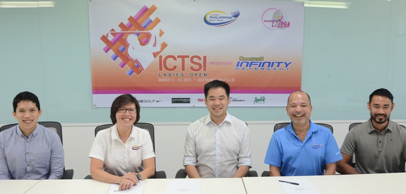 Champion Infinity will be the presentor of the $75,000 ICTSI Ladies Open, the kickoff leg of this year's Ladies Philippine Golf Tour and fourth stage of the Taiwan LPGA on March 11-13 at Southlinks Golf Club in Las Pinas. Present during the contract signing are (from left) Carlos Bacani, marketing manager of Peerless Products Manufacturing Corp. (PEPMACO), Pilipinas Golf Tournaments, Inc. general manager Colo Ventosa, PEPMACO vice president for sales and marketing Jasper Tiu; and tournament managers Luigi Tabuena and Cho Minn Thant. The event will feature players from Taiwan, Thailand, Korea, Japan, Malaysia, the United States and the Philippines.