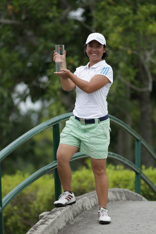 Cristina Corpus beams as she displays her first-ever LPGT trophy after ruling the ICTSI Luisita Ladies Challenge.