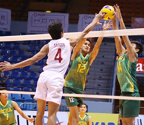 FEU's Daryl Valenzuela and Ralph Ocima join hands to foil UE's Jose Saguin's power tip during their Spikers' Turf clash at The Arena.