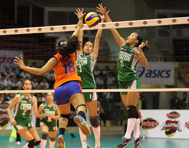 Southern Luzon's Jewel Encarnacion (1) and Mary Bautista foil Central Visayas' Anne Caasi's attack during the opener of the Shakey's Girls' Volleyball League national finals at the Astrodome last Monday.