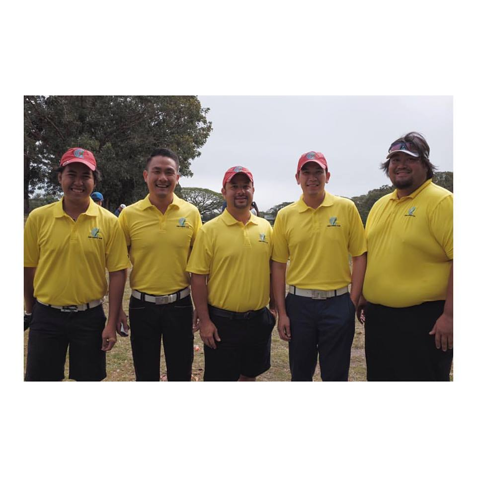 The third day line up of Cebu Country Club as posted by JJ Alvarez on his Facebook page.  They are (from left) Pio Neri, Mark Dy, Marc Gonzalez, Ferdie Chua, and Bayani Garcia.