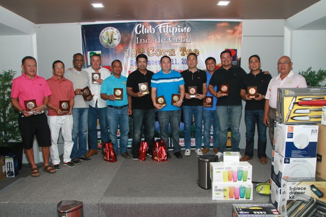 The winners of class A pose for posterity with Club Filipino president Ed Aliño (far right) at the awards ceremony held at BIG Hotel.