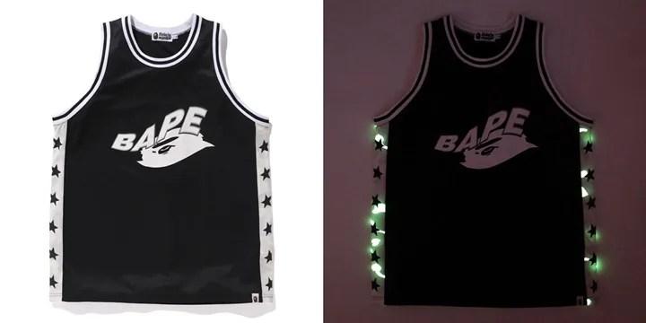 暗闇で光る蓄光プリントを施したエイプ (A BATHING APE)オリジナルカモ柄「CITY CAMO」を採用したバスケットボールタンクトップ、ショーツが6/6から発売!