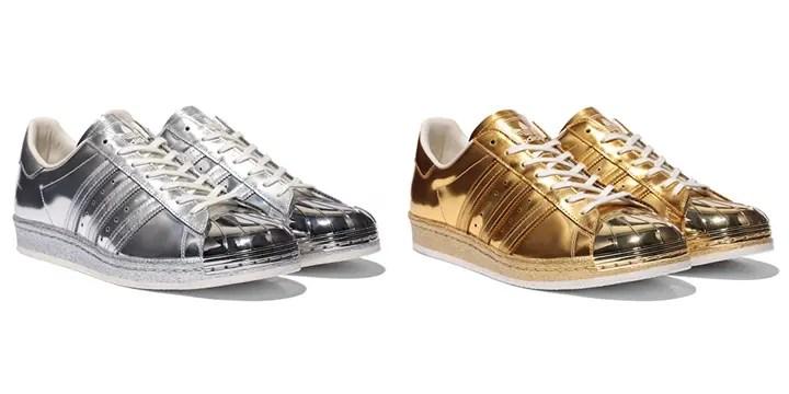 ESTNATIONで10月先行発売!ゴールド/シルバー メタリックで構成されたアディダス オリジナルス スーパースター 80S「METALLIC PACK」(adidas Originals SUPERSTAR メタリックパック) [S82741] [S82742]