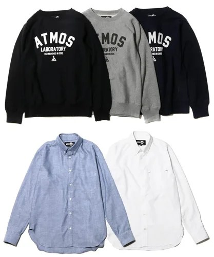 ATMOSLAB(アトモスラボ)から「LABORATORY Crew-Neck Sweat」「COOLMAX Oxford BD Shirt」が登場!