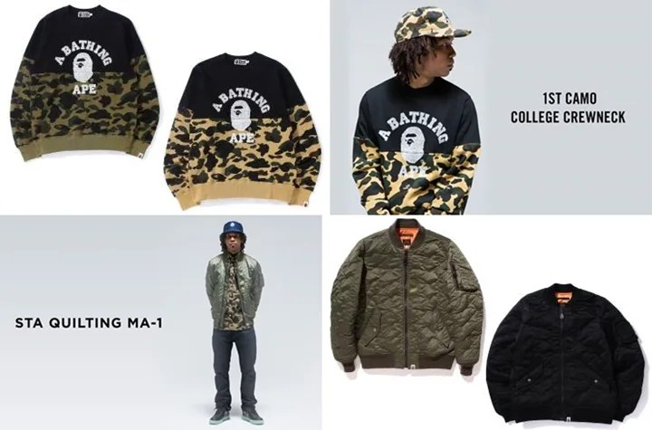 10/3からA BATHING APE 「STA QUILTING MA-1」「1ST CAMO COLLEGE CREWNECK」が発売! (エイプ)