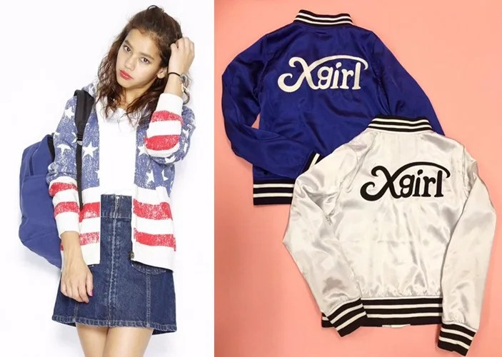 X-girlから「STAR&STRIPES SWEAT HOODIE」「SATIN VARSITY JACKET」が1/29から発売! (エックスガール)