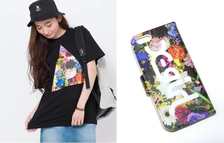 X-girlから実写フラワーがプリントされたTEE/iPhone6 FLIP CASEが4/22発売! (エックスガール)