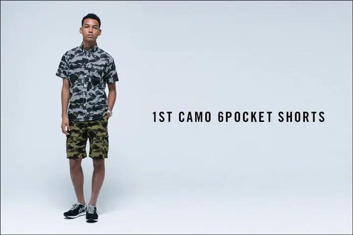 A BATHING APEからオリジナルカモ柄の1ST CAMOで仕上げた6ポケットのショートパンツ「1ST CAMO 6POCKET SHORTS」が5/7から発売!(エイプ)