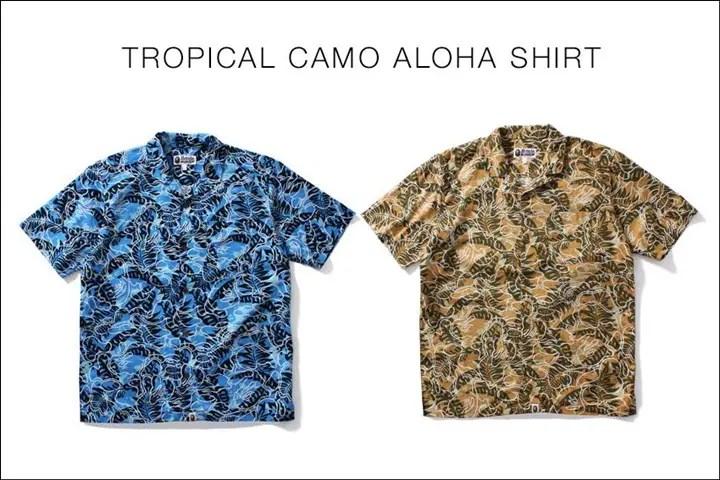 A BATHING APEからリゾートをイメージしたトロピカルなカラーリングのカモフラージュ柄「RESORT MULTI CAMO」で仕上げたアロハシャツ「TROPICAL CAMO ALOHA SHIRT」が5/28から発売!(エイプ)
