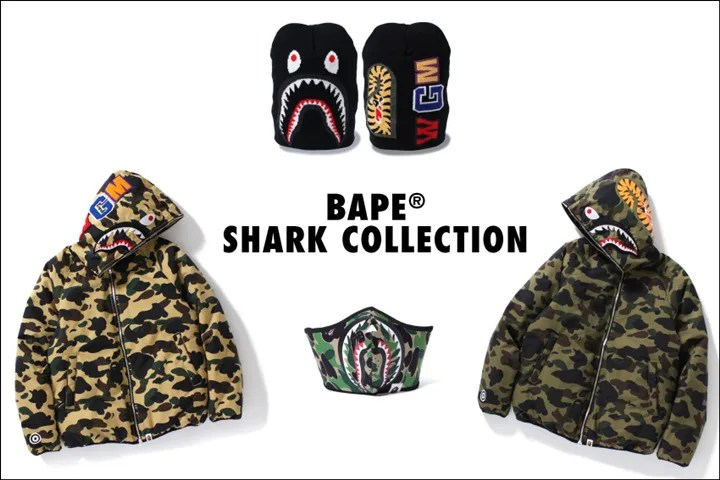 A BATHING APEを代表するSHARKモチーフの「BAPE SHARK COLLECTION」として10/1からニットキャップ、マスク、ダウンジャケットが発売! (エイプ)
