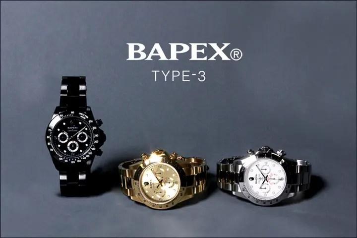 A BATHING APE 腕時計シリーズの「BAPEX」から「TYPE 3 BAPEX」3カラーが10/22発売! (エイプ)