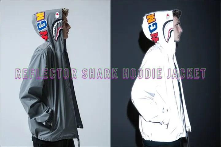 A BATHING APEからリフレクターコーティングを施したシャークフーディをジャケットとして仕上げた「REFLECTOR SHARK HOODIE JACKET」が10/29から発売! (ア ベイシング エイプ)