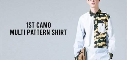 A BATHING APEからストライプ生地とオリジナルカモ柄をマルチパターンに切り替えたデザインが印象的なシャツ「1ST CAMO MULTI PATTERN SHIRT」が5/20から発売 (ア ベイシング エイプ)