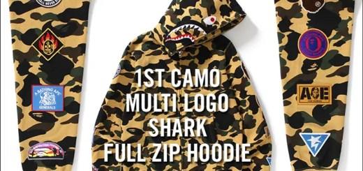 A BATHING APEから1ST CAMOとシャークモチーフを組み合わせたシャークフーディに様々なオリジナルロゴを配した「1ST CAMO MULTI LOGO SHARK FULL ZIP HOODIE」が6/10発売 (ア ベイシング エイプ)