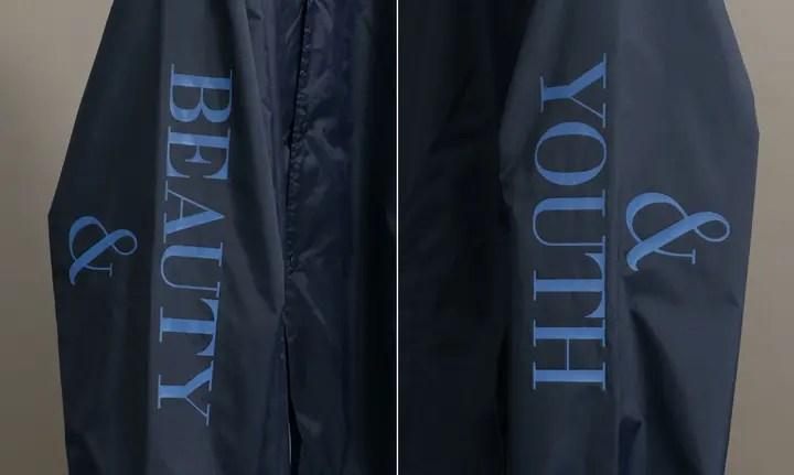 両袖に再帰反射転写ロゴプリントを施したBEAUTY&YOUTH COACH JACKETが9月上旬発売 (ビューティアンドユース)