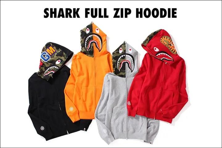 A BATHING APEからブラック/グレー/レッド/オレンジカラーのシャークフーディ「SHARK FULL ZIP HOODIE」が9/23発売! (ア ベイシング エイプ)