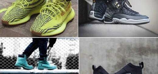 """【まとめ】11/18発売の厳選スニーカー!(adidas Originals YEEZY 350 BOOST V2 """"Semi Frozen Yellow"""")(NIKE AIR JORDAN 12 RETRO """"Dark Grey"""")(NMD_CS1 PK GORE-TEX """"White/Black"""")(atmos × Timberland 6 INCH PREMIUM BOOTS """"TEAL BLUE WATERBUCK"""")他"""