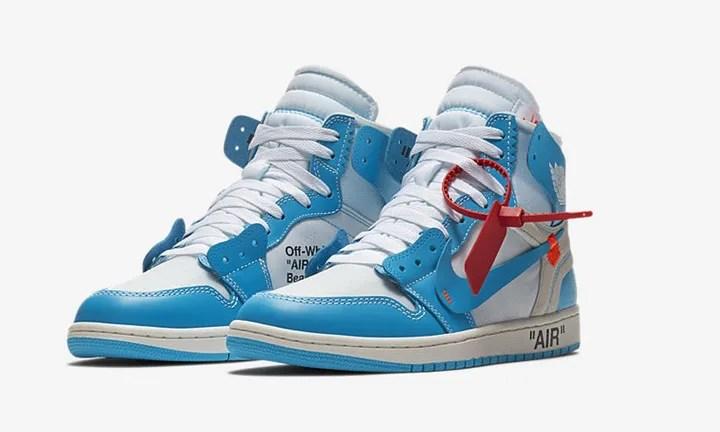 """OFF-WHITE c/o VIRGIL ABLOH × NIKE AIR JORDAN 1 RETRO HIGH OG Part 2 """"White/Universitty Blue"""" (オフホワイト ナイキ エア ジョーダン 1 レトロ ハイ OG パート 2 """"ホワイト/ユニバーシティー ブルー"""") [AQ0818-148]"""