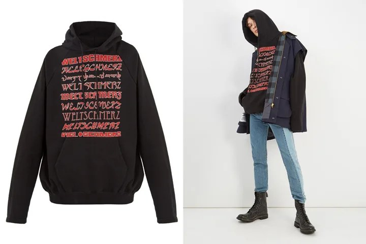 "VETEMENTS 2017-2018 S/S ""Weltschmerz-print hooded jersey sweatshirt"" (ヴェトモン 2018 春夏)"