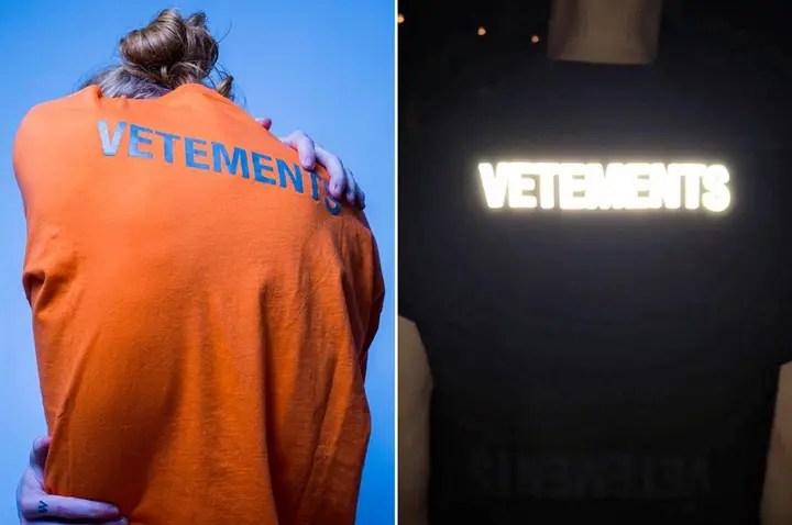 """リフレクティブ テキストロゴをプリントしたVETEMENTS 2017-2018 S/S """"Staff Print Jersey TEE"""" (ヴェトモン 2018 春夏)"""